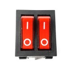 Double toggle switch ON-OFF 230VAC 15A Red